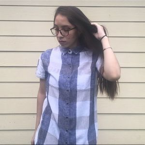 OldNavy Button Up Collar Dress with Square Pattern